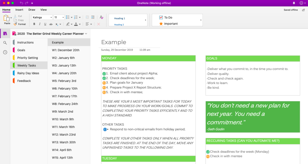 free onenote planner template for professionals