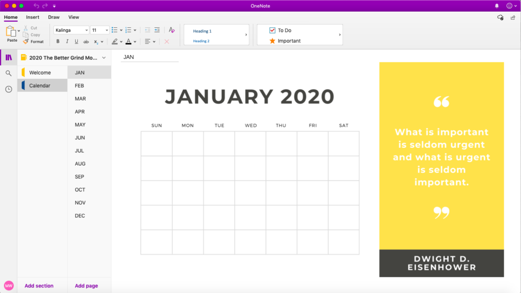 Calendar Template For Onenote from www.thebettergrind.com